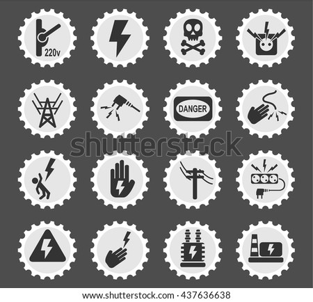 high voltage web icons for user interface design - stock vector