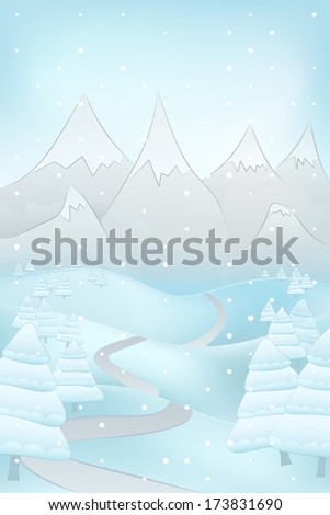 high winter landscape scene with road to mountains and fir trees at snowfall vector illustration