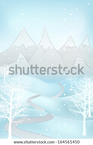 high winter landscape with snowy mountains and broad leaf trees at snowfall vector illustration