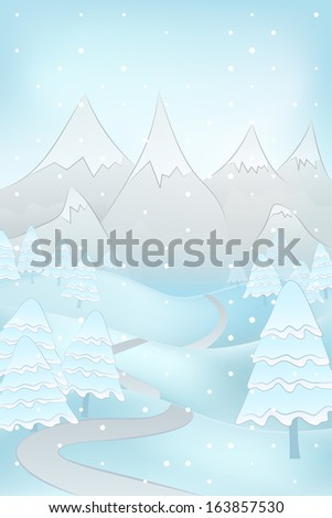 high winter mountain landscape with snowy trees and road at snowfall vector illustration