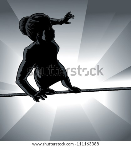 High wire business girl outline - stock vector