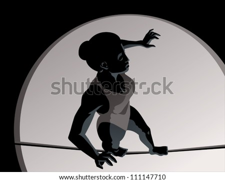 High wire girl - stock vector
