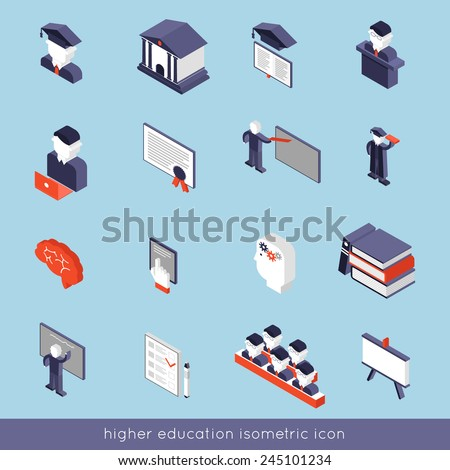 Higher education isometric icons set with book student teacher symbols isolated vector illustration - stock vector