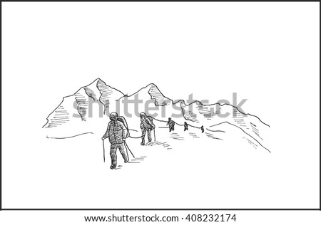 Highland mountain landscape with mountaineers climbs a snowy ridge, for extreme climbing sport, adventure and  travel  design