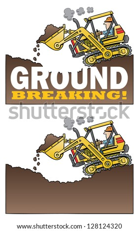 Highlift loader digging and breaking ground - stock vector