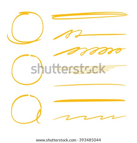 highlighter elements, circle markers, hand drawn brush lines, underlines - stock vector