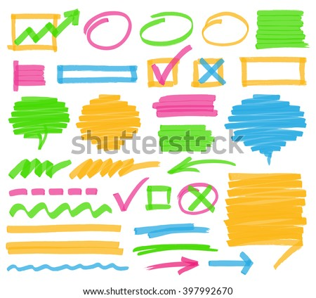 Highlighter marker design elements. Set of highlighter marks, stripes, strokes, shaded speech bubbles and arrows. Optimized for one click color changes. Transparent colors EPS10 vector. - stock vector