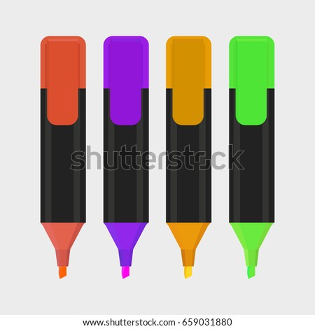 Highlighter pen isolated icon with white background, vector illustration