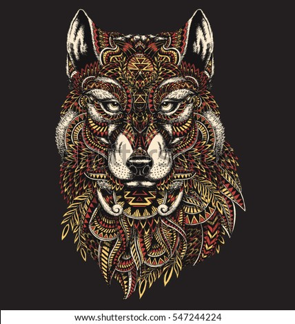 Highly detailed abstract wolf illustration in color