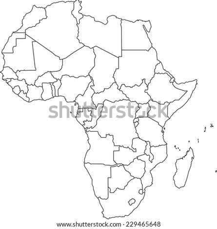Highly Detailed Africa Blind Map. - stock vector