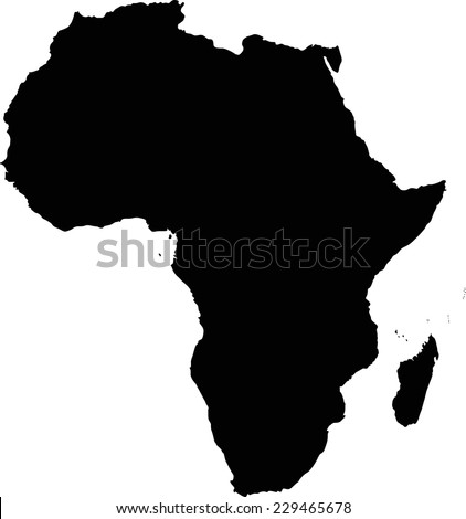 Highly Detailed Africa Map Silhouette. - stock vector