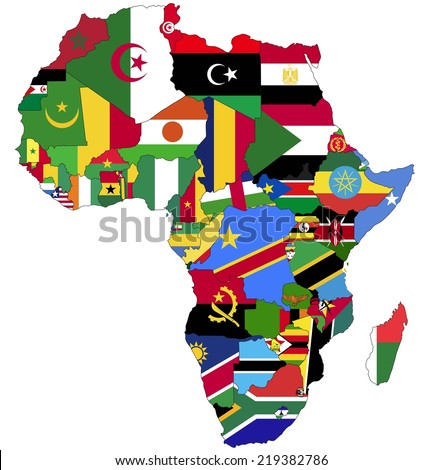 Highly Detailed Africa Map Country Flags Stock Vector 219382786
