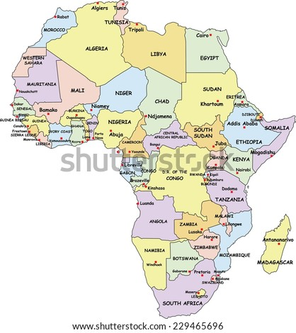 Africa Map With Country Names And Capitals Campinglifestyle