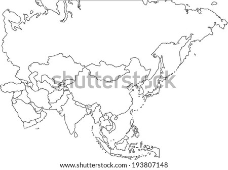 Highly Detailed Asia Blind Map. - stock vector