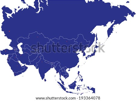 Highly Detailed Asia Map Silhouette With Country Capitals. - stock vector