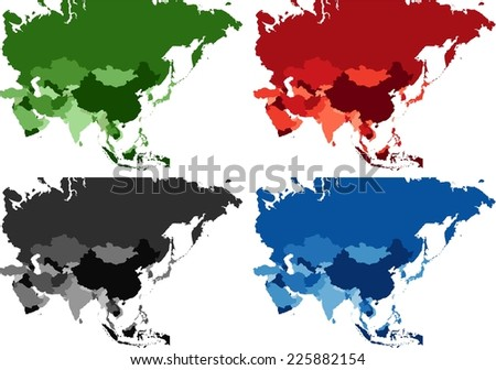 Highly Detailed Asia political map in four different color. - stock vector