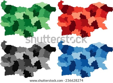 Highly Detailed Bulgaria political map in four different color. Isolated, editable. - stock vector