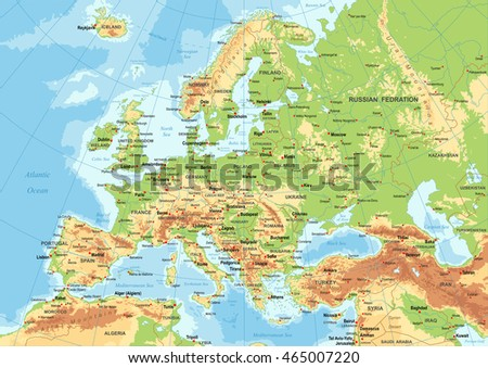 Detailed Europe Political Map Mercator Projection Stock Vector - Europe map with cities and countries