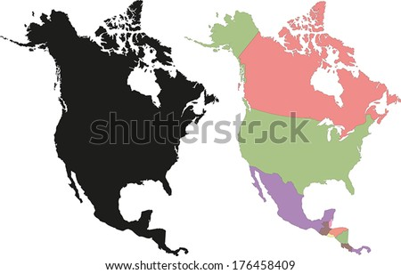 Highly Detailed Continent Silhouette And Political Map North America