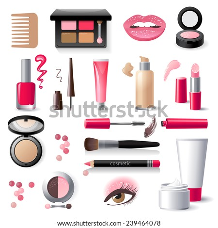 highly detailed cosmetics icons set - stock vector