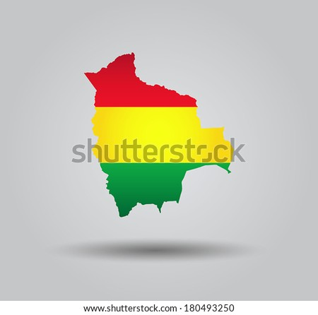Highly Detailed Country Silhouette With Flag and 3d effect - Bolivia