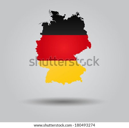 Highly Detailed Country Silhouette With Flag and 3d effect - Germany