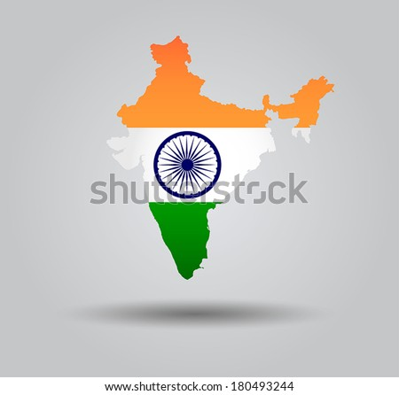 Highly Detailed Country Silhouette With Flag and 3d effect - India - stock vector