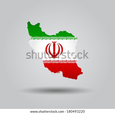 Highly Detailed Country Silhouette With Flag and 3d effect - Iran