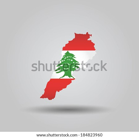 Highly Detailed Country Silhouette With Flag and 3D effect - Lebanon - stock vector