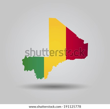 Highly Detailed Country Silhouette With Flag and 3D effect - Mali - stock vector