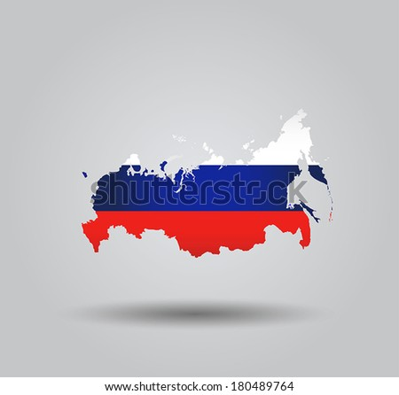 Highly Detailed Country Silhouette With Flag and 3D effect - Russia  - stock vector