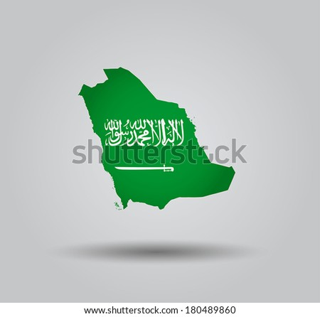 Highly Detailed Country Silhouette With Flag and 3D effect - Saudi Arabia - stock vector