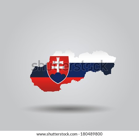 Highly Detailed Country Silhouette With Flag and 3D effect - Slovakia