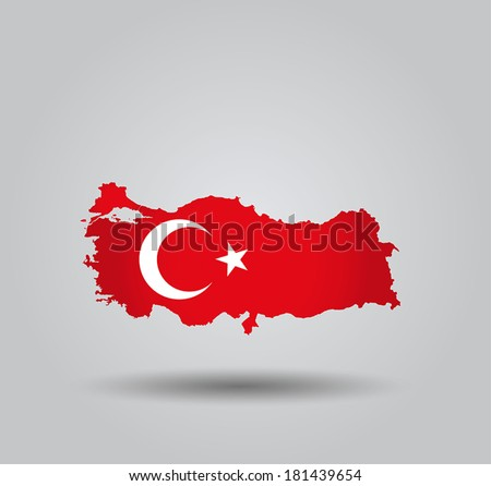 Highly Detailed Country Silhouette With Flag and 3D effect - Turkey - stock vector