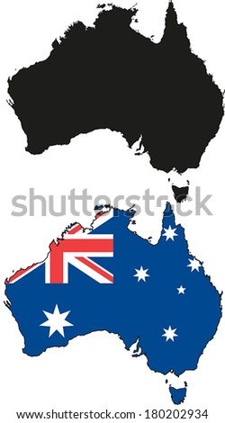 Highly Detailed Country Silhouette With Flag - Australia - stock vector