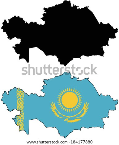 Highly Detailed Country Silhouette With Flag - Kazakhstan  - stock vector