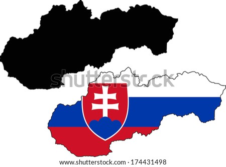 Highly Detailed Country Silhouette With Flag - Slovakia