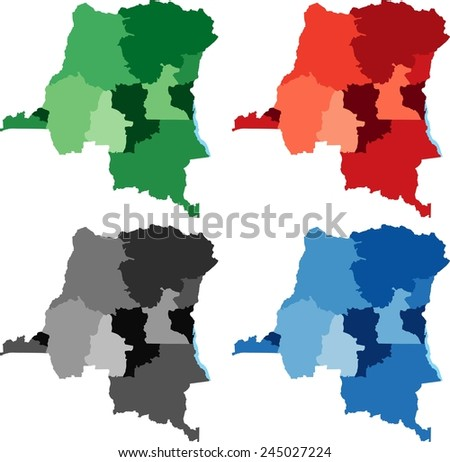 Highly Detailed Democratic Republic of the Congo political map in four different color. Isolated, editable. - stock vector