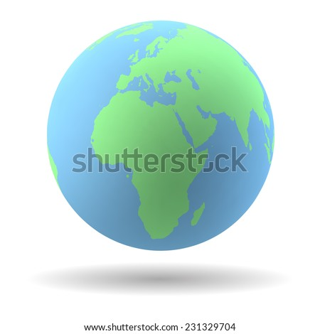 Highly detailed Earth globe in blue and green. - stock vector