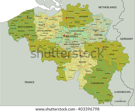 Highly detailed editable political map with separated layers. Belgium. - stock vector