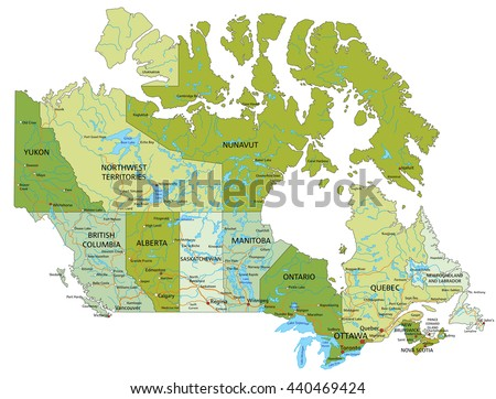 High Detailed Canada Physical Map Labeling Stock Vector - Canada physical map
