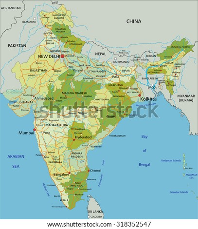 Highly detailed editable political map with separated layers. India.