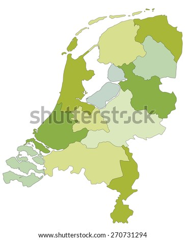 Highly detailed editable political map with separated layers. Netherlands. - stock vector