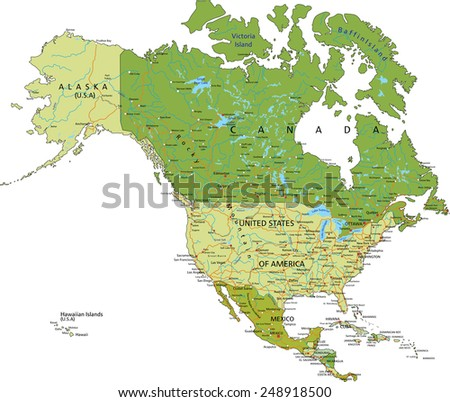 Highly detailed editable political map with separated layers. North and Central America. - stock vector