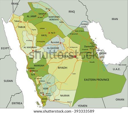 highly detailed editable political map with separated layers saudi arabia