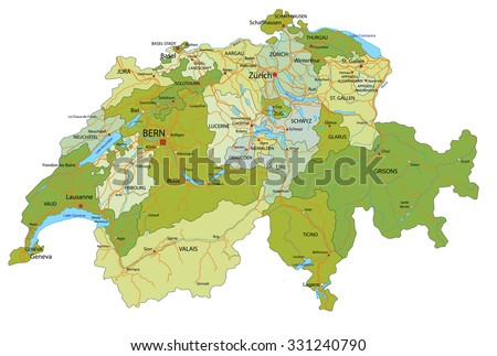 Highly detailed, editable political map with separated layers. Switzerland. - stock vector