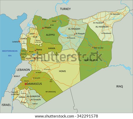Highly detailed editable political map with separated layers. Syria. - stock vector
