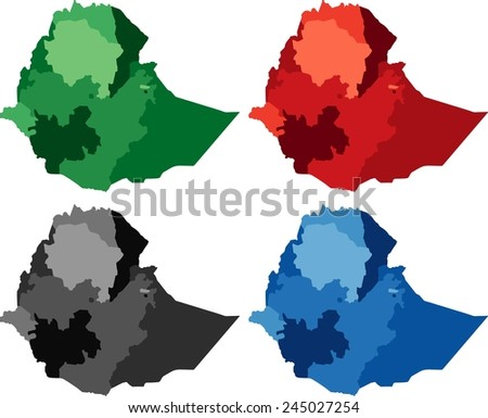 Highly Detailed Ethiopia political map in four different color. Isolated, editable. - stock vector
