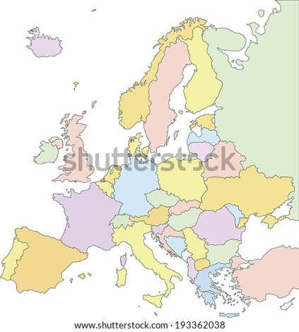 Highly Detailed Europe Political Map. - stock vector