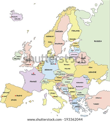 Highly Detailed Europe Political Map With Country And Capitals Name. - stock vector